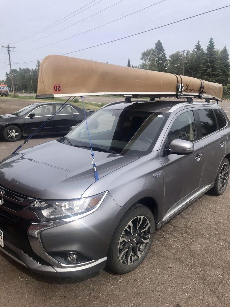 Kevlar canoe strapped to our PHEV Mitsubishi Outlander.