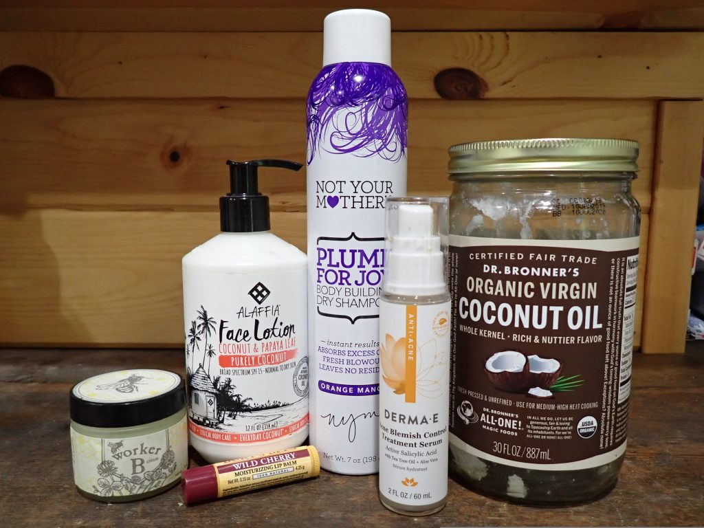 Worker B Hand Cream, Alaffia Face Lotion, Not Your Mother's Dry Shampoo, Derma-E Anti Blemish serum, Dr. Bronner's Organic Virgin Coconut Oil, Bert's Bee's Wild Cherry Chapstick.