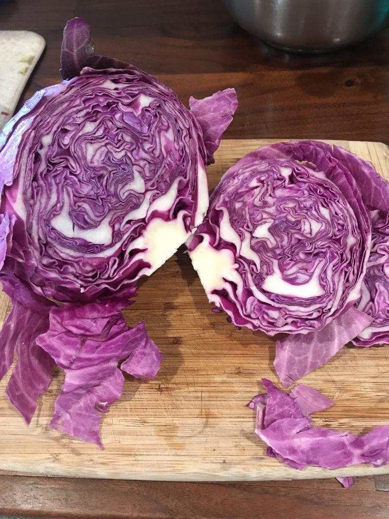 Purple cabbage cut in half.