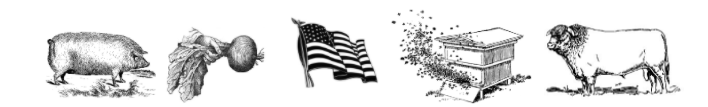 Pig, flag, cow, sheep clip art black and white.