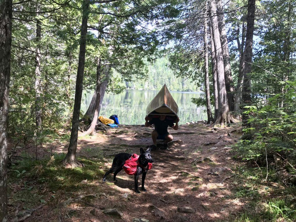 Nick stands to portage the canoe in the BWCA. Luna standing in her packs next to him.