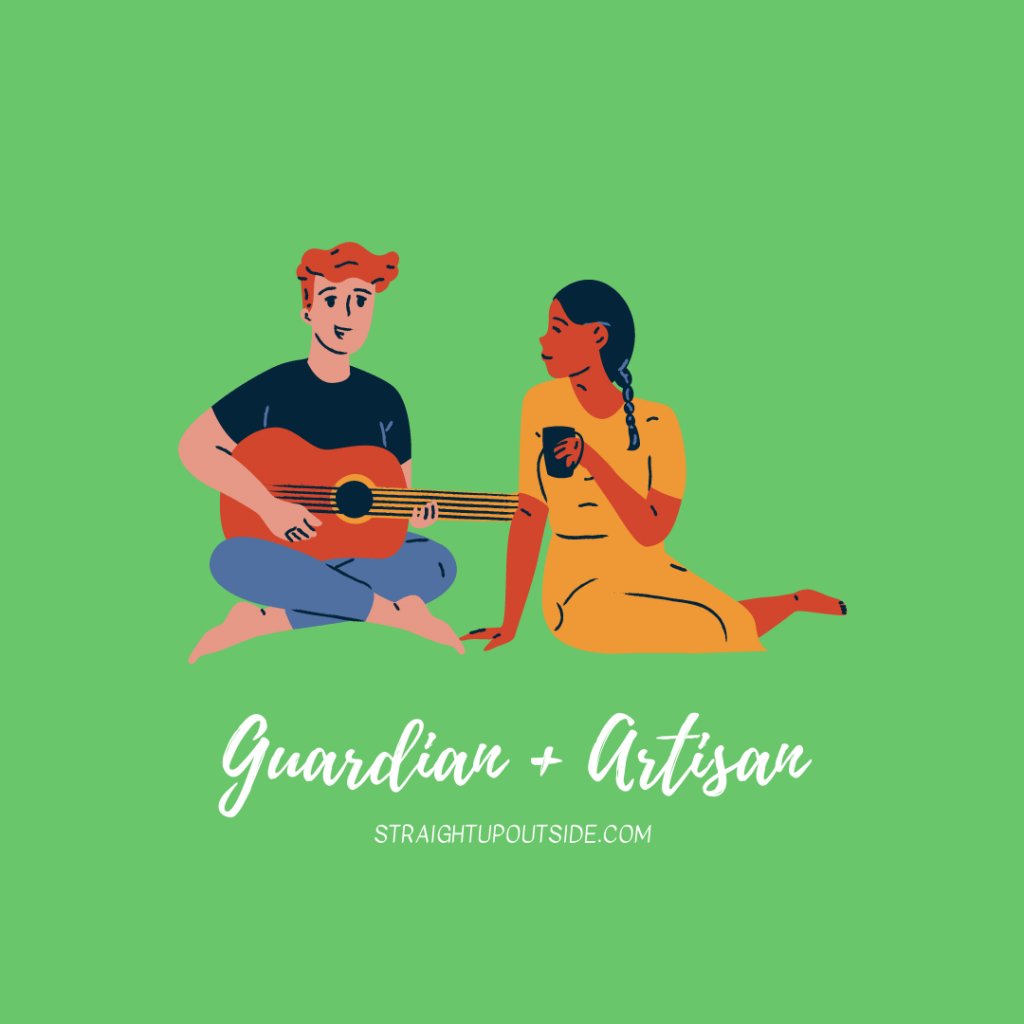 Man sits playing guitar while woman drinks from coffee.
