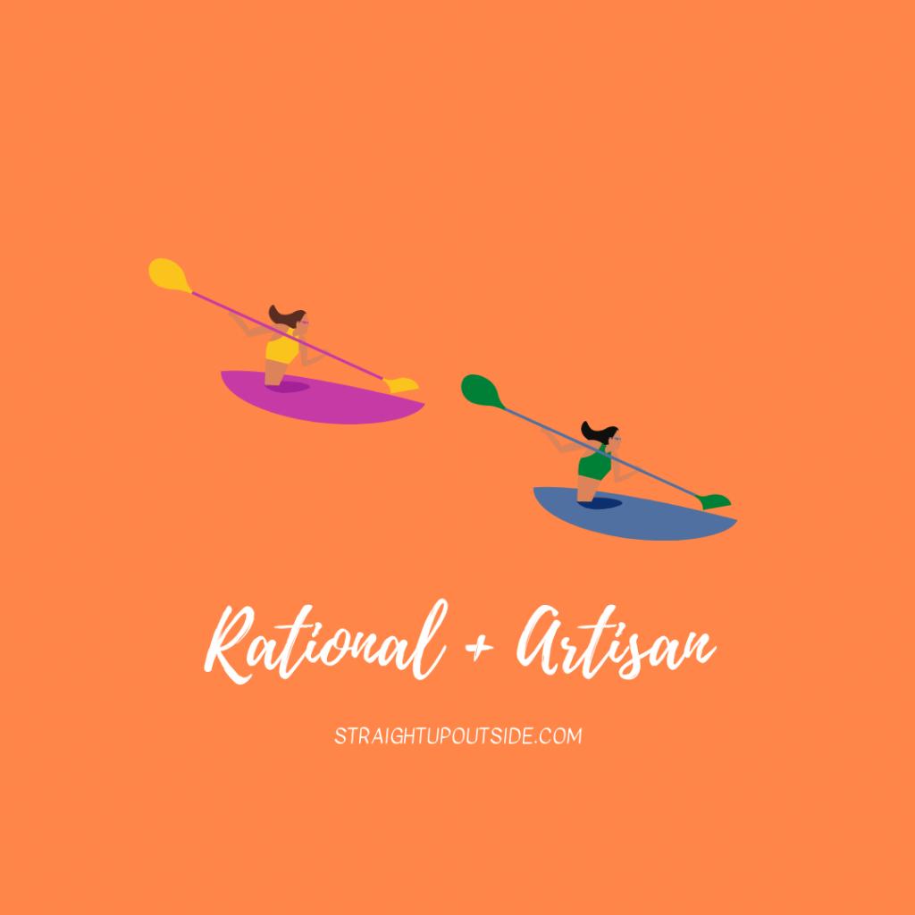 Two women kayak.