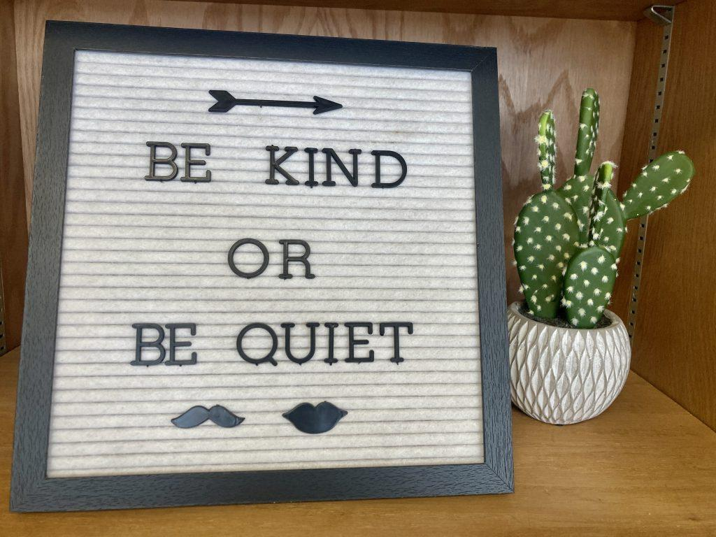 Example of personal credo in a classroom.